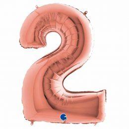 Τεράστιο Μπαλόνι 100 εκ Ροζ Χρυσό Αριθμός 2
