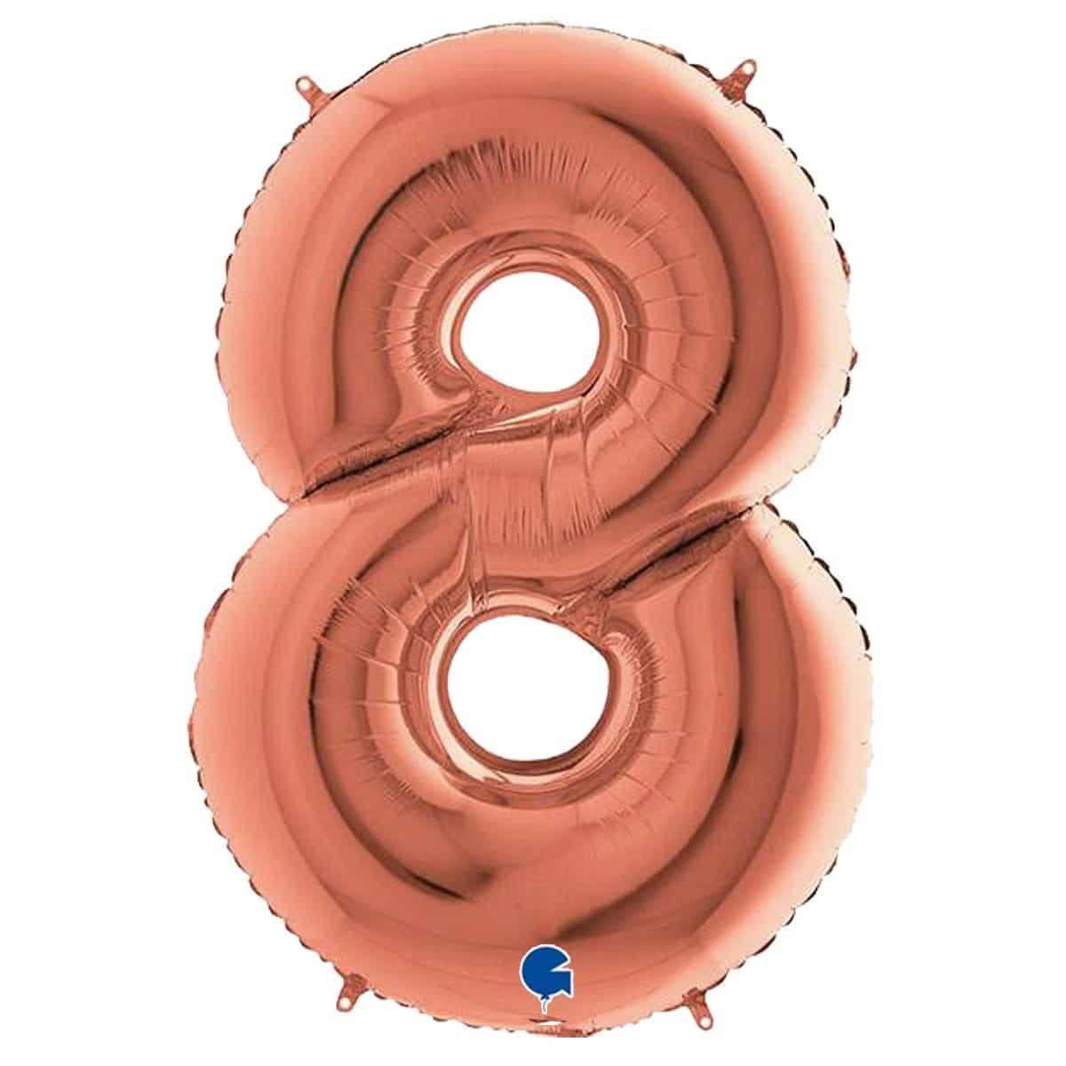 τεράστιο μπαλόνι 100 εκ ροζ χρυσό αριθμός 8