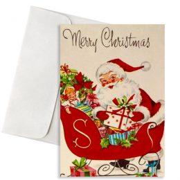Χριστουγεννιάτικη κάρτα vintage Αη Βασίλης