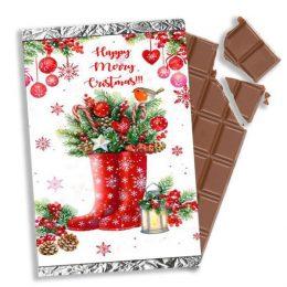 χριστουγεννιάτικη σοκολάτα γαλότσες στολίδια