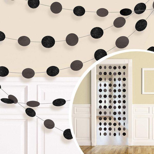 Διακοσμητική Μαύρη κουρτίνα με γκλίτερ