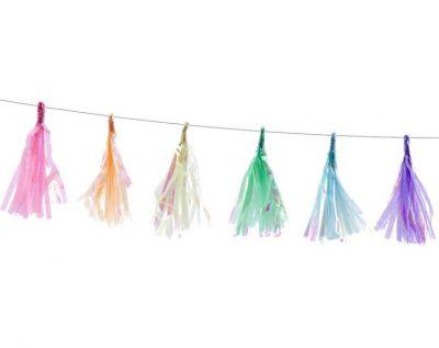 Μιξ χρωμάτων ιριδίζον mini γιρλάντα με φούντες (12 τεμ)