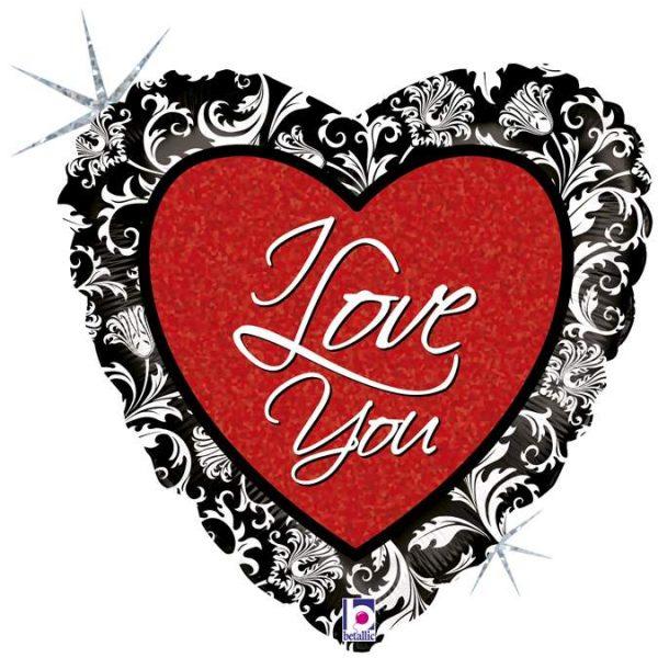 Μπαλόνι αγάπης Καρδιά 'I Love You' damask 46 εκ
