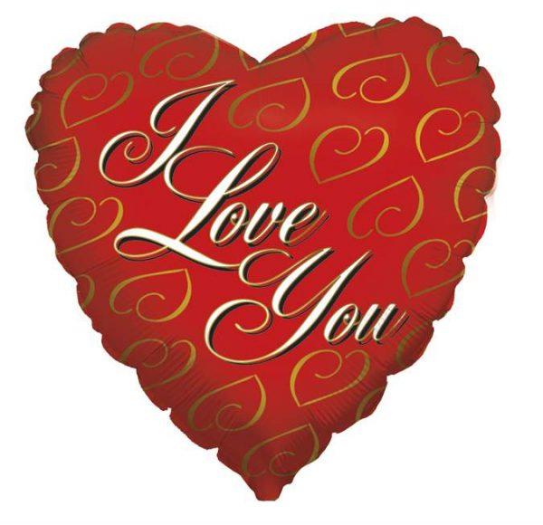 Μπαλόνι αγάπης Καρδιά 'I Love You' χρυσές καρδιές 46 εκ