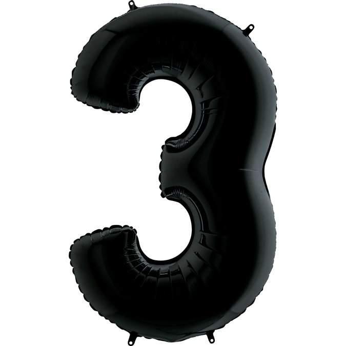Μπαλόνι 66 εκ Μαύρο Αριθμός 3