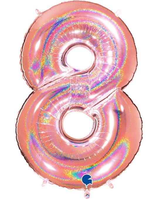 Τεράστιο Μπαλόνι 102 εκ Ροζ Χρυσό με γκλίτερ αριθμός 8