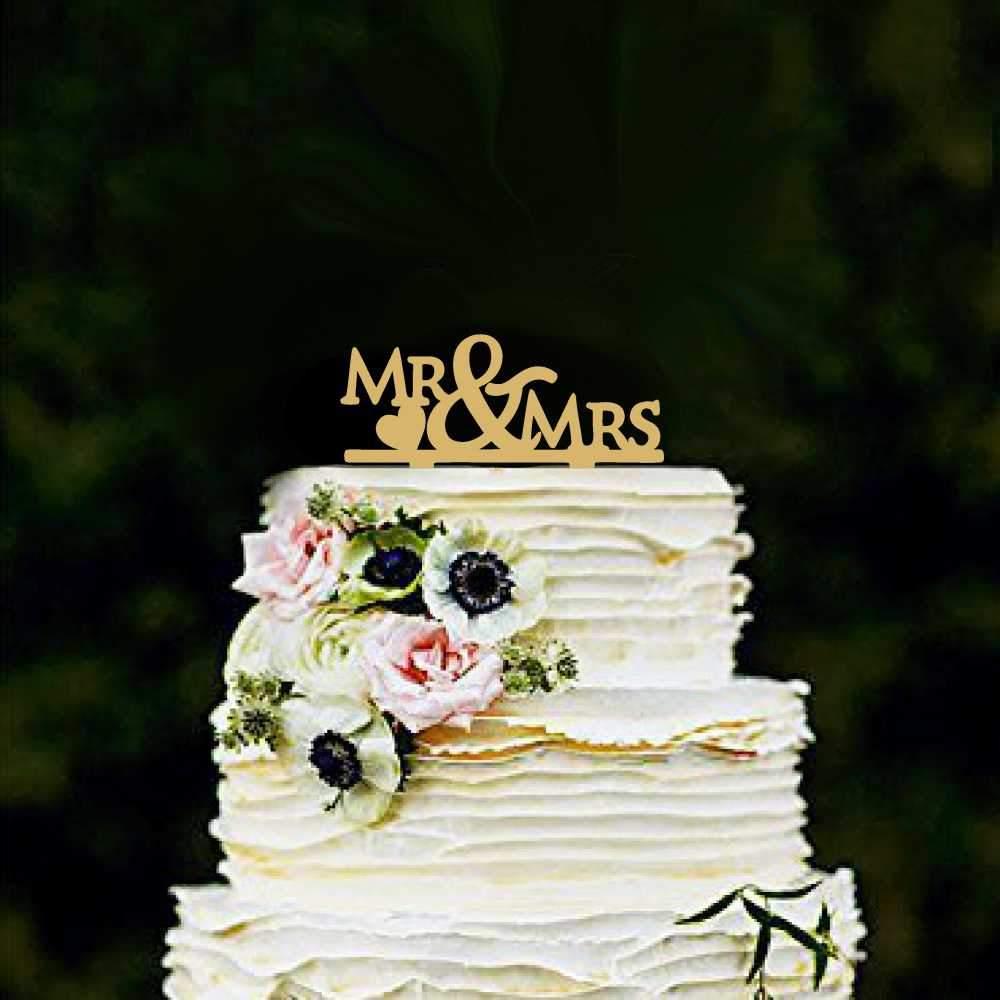 Διακοσμητικό topper Mr & Mrs χρυσό