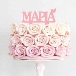 Topper τούρτας με Όνομα ροζ