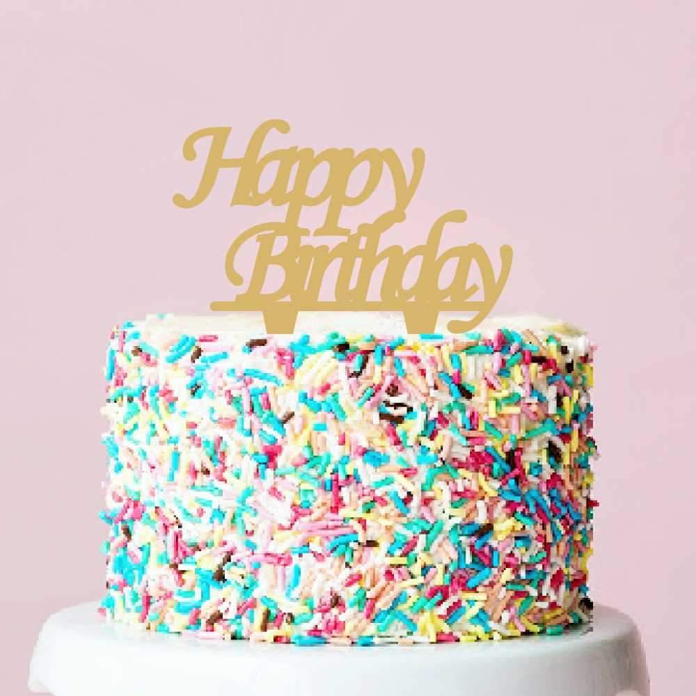 Διακοσμητικό topper Happy Birthday χρυσό