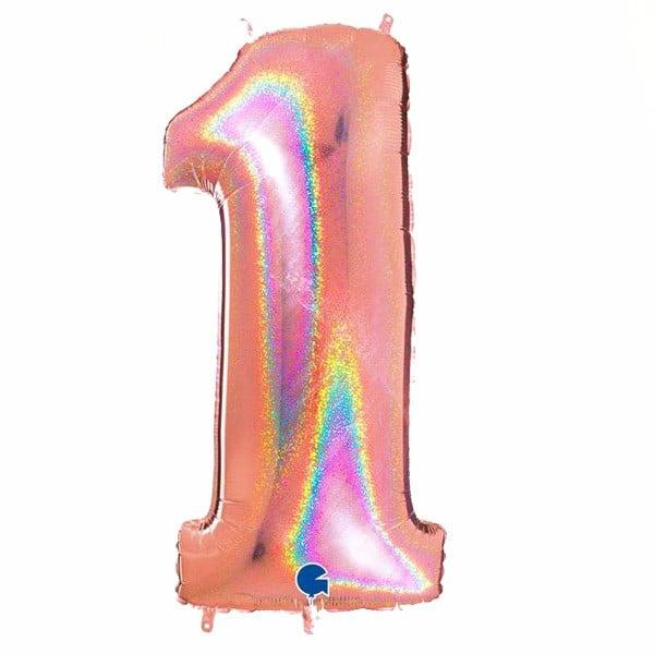 τεράστιο μπαλόνι 102 εκ ροζ με γκλίτερ αριθμός 1
