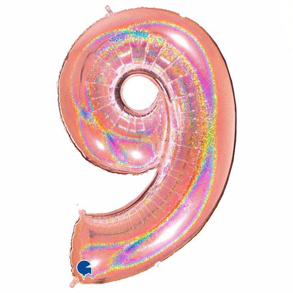 τεράστιο μπαλόνι 102 εκ ροζ χρυσό με γκλίτερ αριθμός 9