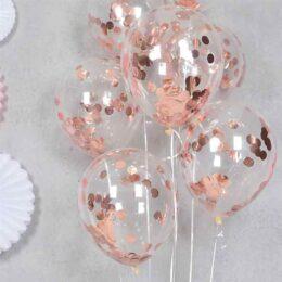 Διάφανο μπαλόνι με Rosegold κονφετί (3 μεγέθη)