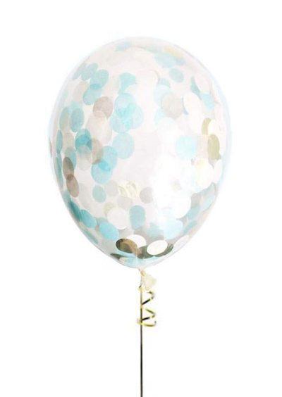 """13"""" Διάφανο μπαλόνι με μπλε & χρυσό κονφετί"""