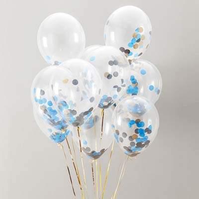 Διάφανο μπαλόνι με γαλάζιο & χρυσό κονφετί (3 μεγέθη)
