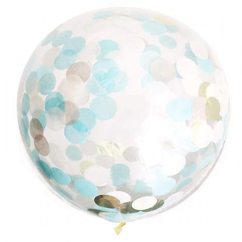"""19"""" Διάφανο μπαλόνι γεμισμένο με σκούρο μπλε & χρυσό κονφετί"""