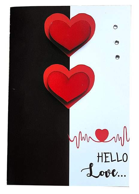 Κάρτα Αγάπης Hello Love ξύλινες καρδιές