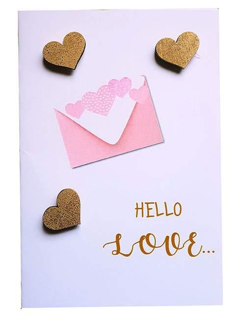Κάρτα Αγάπης Hello Love χρυσές καρδιές