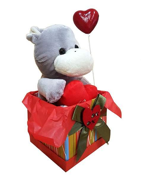 Κουτί Βαλεντίνου γκρι Ιπποποταμάκι & καρδιά