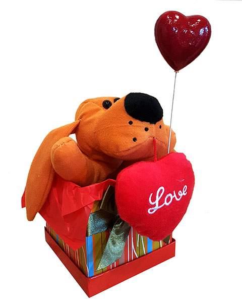 Κουτί Βαλεντίνου καφέ Σκυλάκι & καρδιά