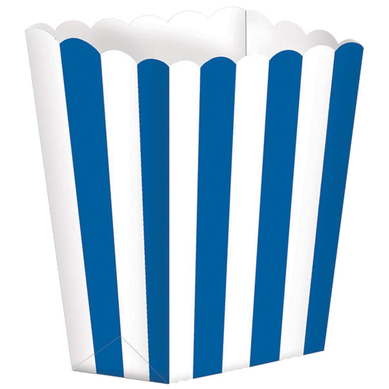 Χάρτινα Μπλε τσαντάκια με ρίγες (5 τεμ)