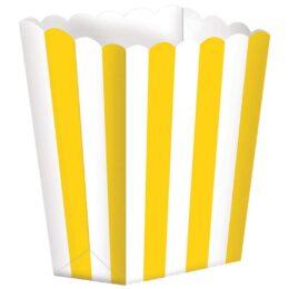Κουτί Ποπ Κορν Κίτρινο με Ρίγες 5 τεμ.