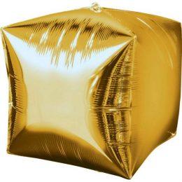 """Μπαλόνι χρυσός 3D κύβος 18"""""""