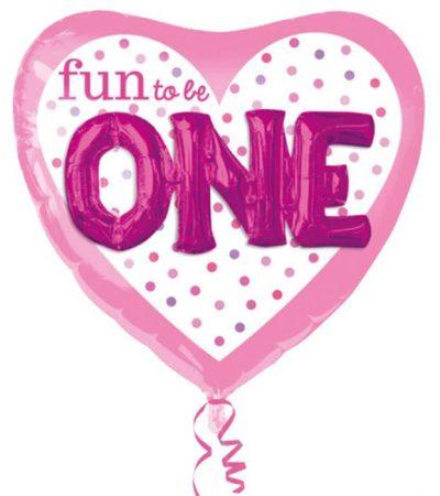 Μπαλόνι για γενέθλια Καρδιά Fun to Be ONE 91 εκ