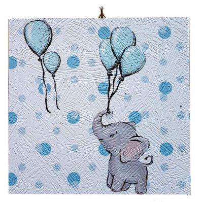 Καδράκι Βάπτισης Ελεφαντάκι & μπαλόνια