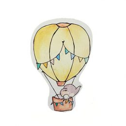 Μαγνητάκι/Μπρελόκ βάπτισης Ελεφαντάκι & Αερόστατο
