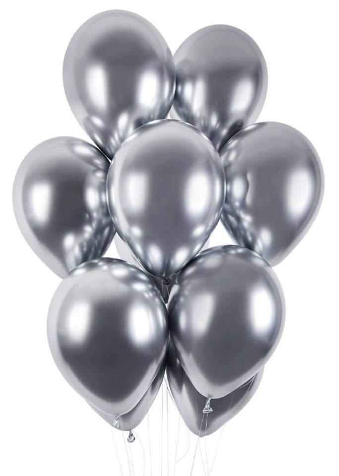12″ Shiny Ασημί λάτεξ μπαλόνι