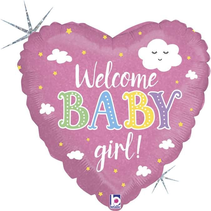Μπαλόνι γέννησης Καρδιά Welcome Baby Girl