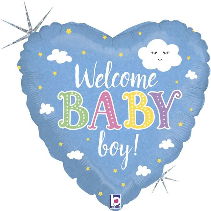 Μπαλόνι γέννησης Καρδιά Welcome Baby Boy