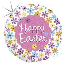 """Μπαλόνι """"Happy Easter"""" με ανοιξιάτικα λουλούδια με γκλίτερ"""