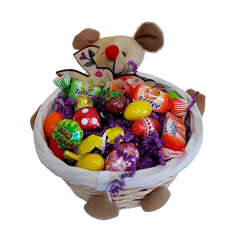 Πασχαλινό καλαθάκι γεμισμένο με σοκολατάκια & ζαχαρωτά (σχέδιο 4)