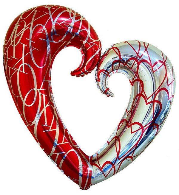 Μπαλόνι Καρδιά κόκκινη-ασημί με τρύπα 83 εκ