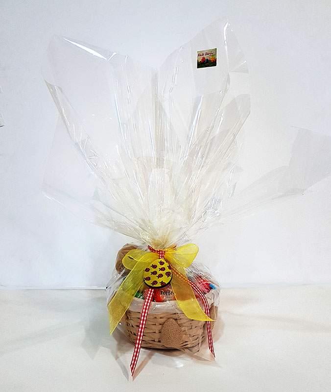 Πασχαλινό καλαθάκι γεμισμένο με σοκολατάκια & ζαχαρωτά (σχέδιο 6)
