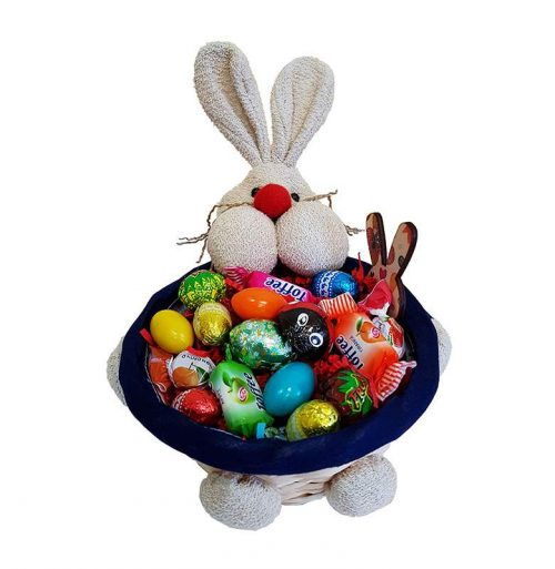 Πασχαλινό καλαθάκι γεμισμένο με σοκολατάκια & ζαχαρωτά (σχέδιο 7)