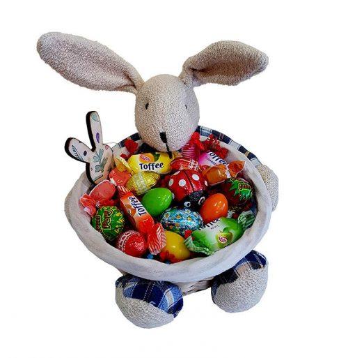 Πασχαλινό καλαθάκι γεμισμένο με σοκολατάκια & ζαχαρωτά (σχέδιο 8)