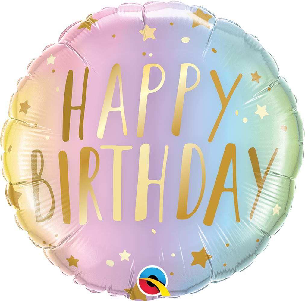 Μπαλόνι Happy Birthday παστέλ ombre 45 εκ