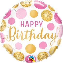 Μπαλόνι Happy Birthday ροζ & χρυσά πουά 45 εκ