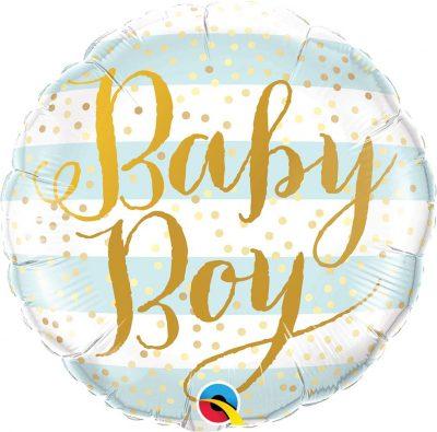 Μπαλόνι γέννησης Baby Boy χρυσές ρίγες 45 εκ