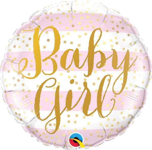 Μπαλόνι γέννησης Baby Girl χρυσές ρίγες 45 εκ
