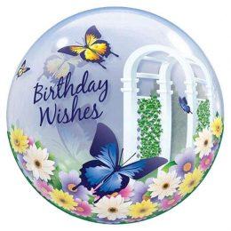 """Μπαλόνι Πεταλούδες """"Bday Wishes"""" bubble"""