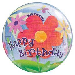 """Μπαλόνι """"Happy Birthday"""" λουλούδια bubble 56 εκ"""