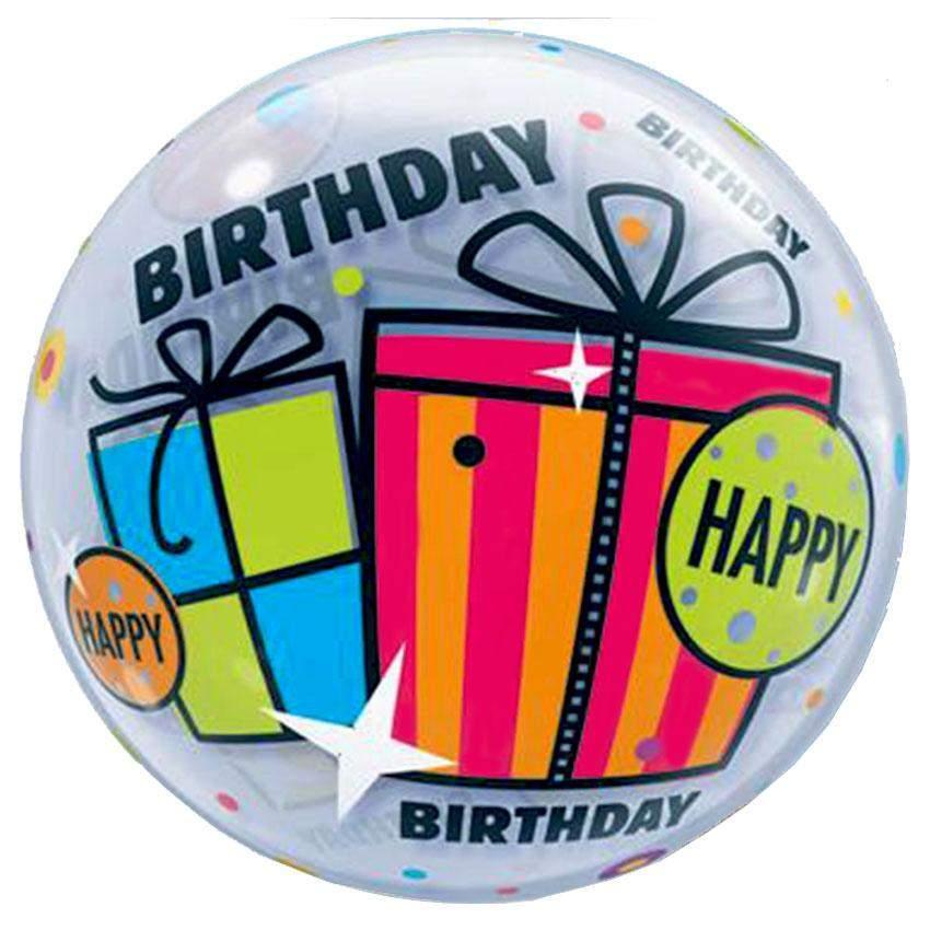 """Μπαλόνι """"Happy Birthday"""" με δώρα bubble 56 εκ"""