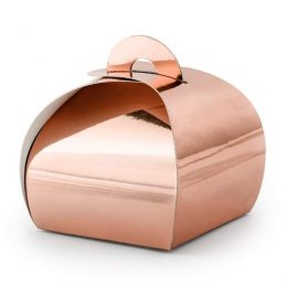 Ροζ-Χρυσό κουτάκι για μπομπονιέρα (10 τεμ)