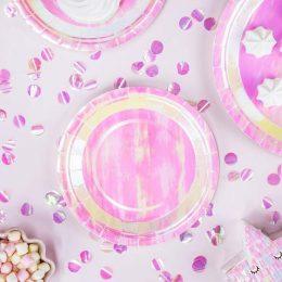 Πιάτα πάρτυ μικρά ιριδίζοντα (6 τεμ)