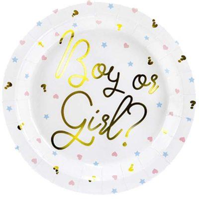 """Πιάτα για Baby Shower """"Boy or Girl"""" (6 τεμ)"""