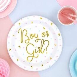 """Πιάτα για Gender Reveal """"Boy or Girl"""" (6 τεμ)"""