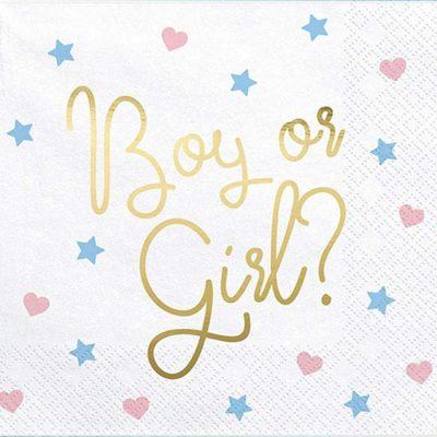 Χαρτοπετσέτες 'Boy or Girl' για Baby Shower (20 τεμ)